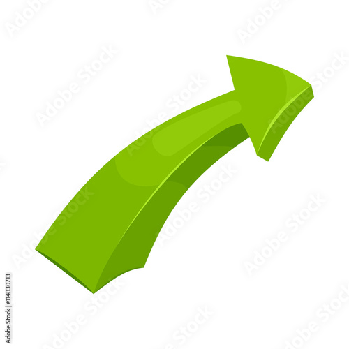 Green right arrow icon in cartoon style on a white background Poster