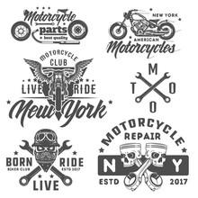 Set Of Motorcycle Vintage Styl...