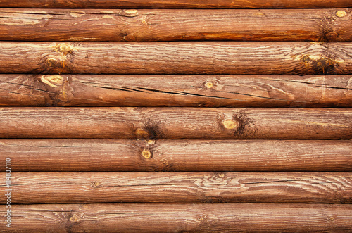 Fotobehang Brandhout textuur Wooden wall from logs