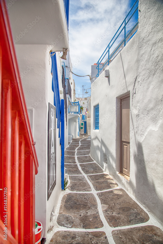 Fototapety, obrazy: Grecja, aleja w Mykonos
