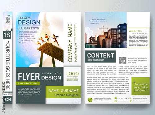 Flyers design template vector Business brochure green square