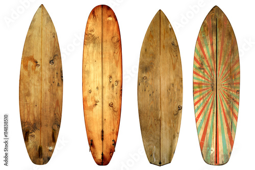 Foto  Vintage surfboard isolated on white - Retro styles 60's
