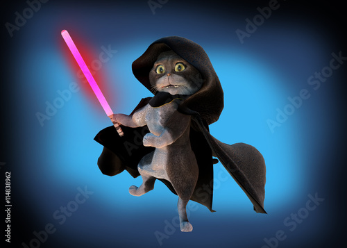 3D Illustration of funny cartoon cat in the costume of the hero of the a fantastic film