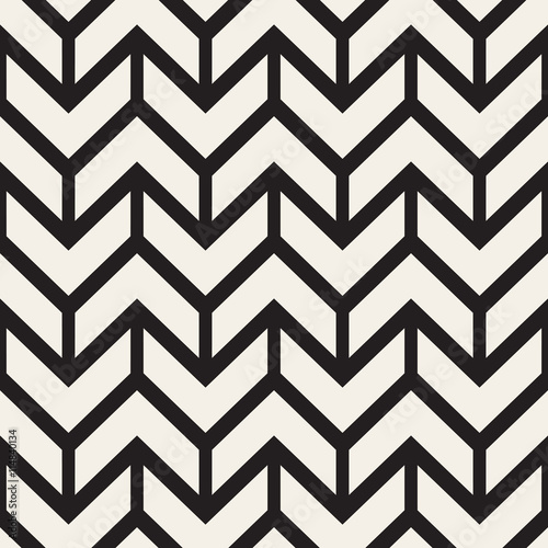 Photo Vector Seamless Black And White Chevron ZigZag Lines Geometric Pattern
