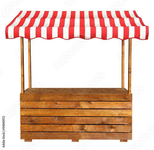 Stampa su Tela Wooden market stand stall with red white striped awning
