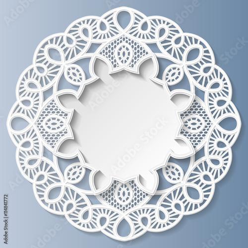 Fotografering  3D round frame, vignette with ornaments, lace frame,  bas-relief ornament,  fest