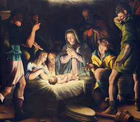 FototapetaBRESCIA, ITALY - MAY 21, 2016: The painting of Nativity in church Chiesa del Santissimo Corpo di Cristo by Pier Maria Bagnadore (1550 - 1627).