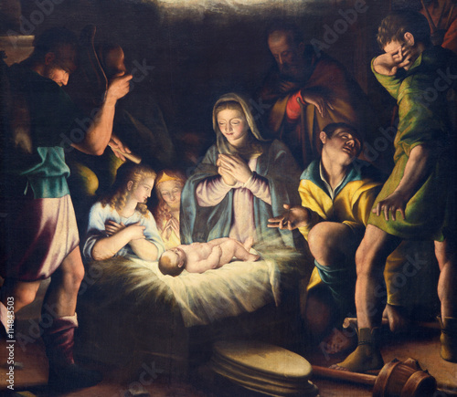 BRESCIA, ITALY - MAY 21, 2016: The painting of Nativity in church Chiesa del Santissimo Corpo di Cristo by Pier Maria Bagnadore (1550 - 1627). - 114843503