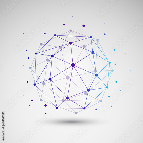 Colorful Minimal Cloud Computing, Digital Networks Structure, Telecommunications Fototapete
