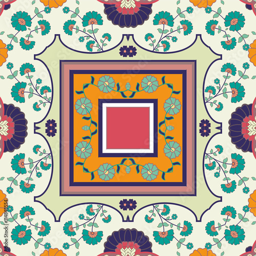 Fotografering  folk flower vector tile pattern