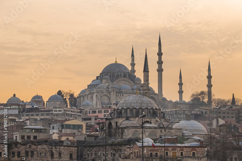 Plakat piękny nowy meczet w tle zmierzch niebo punkt orientacyjny w Istunbul