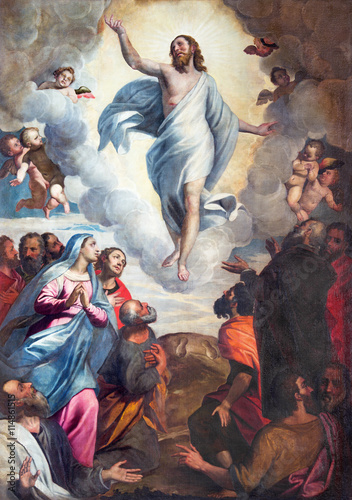 BRESCIA, ITALY - MAY 22, 2016: The painting Ascension of the Lord in church Chiesa di Santa Maria del Carmine by Bernardino Gandino (1587 - 1651). - 114861515
