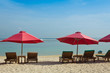 Lounge chairs with sun umbrella on a beach, Bali, Indonesia