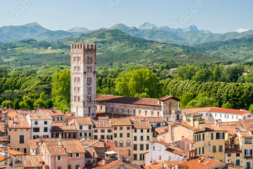 In de dag Toscane Aerial view of Lucca, in Tuscany, during a sunny afternoon; the bell tower belongs to the San Frediano church