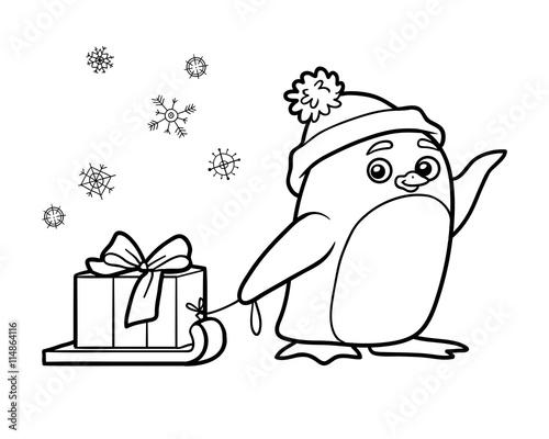 Fototapeta premium Kolorowanka, pingwin z prezentem na Boże Narodzenie