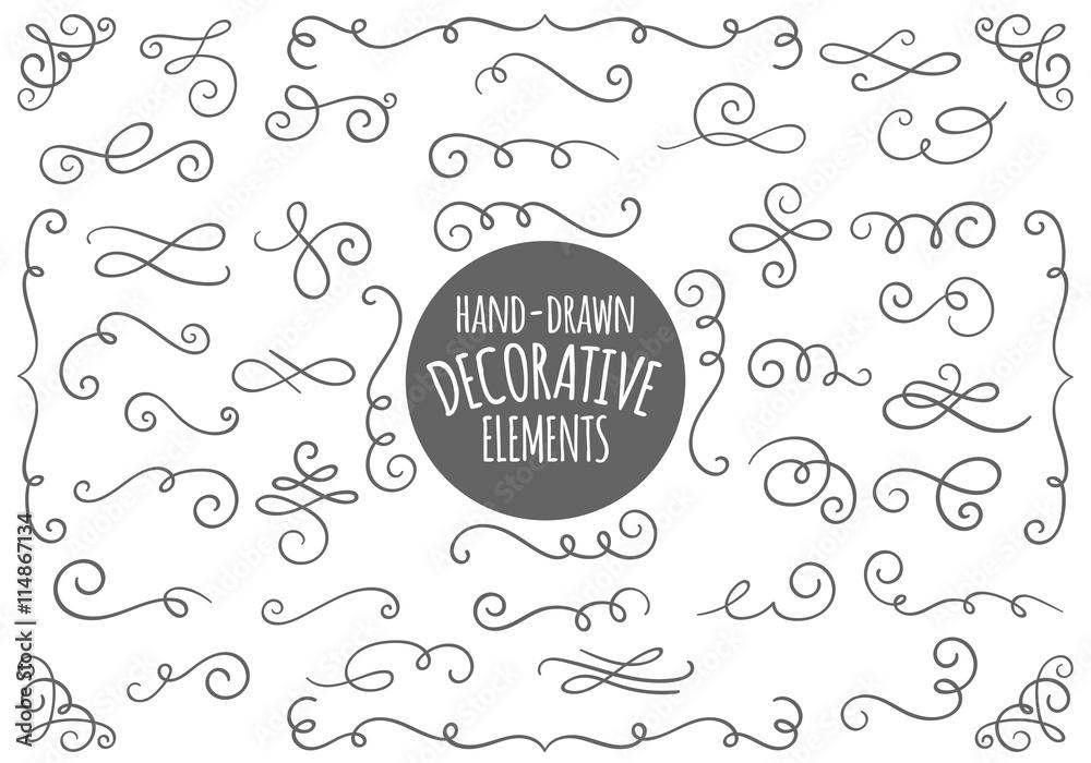 Fototapety, obrazy: Hand-drawn calligraphic design elements.