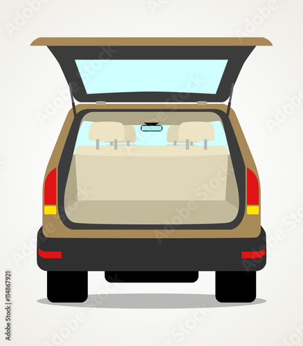 Staande foto Cartoon cars Simple cartoon of an empty car baggage
