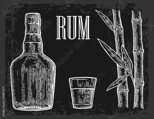 Fotografie, Obraz  Glass and bottle of rum with sugar cane.