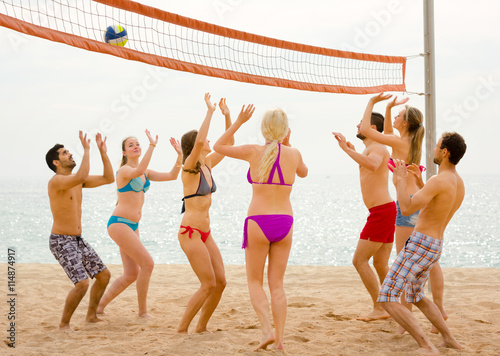 Friends playing volleyball on a beach Poster