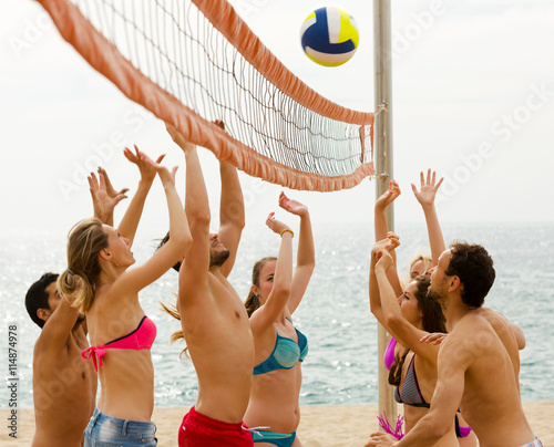 Friends playing volleyball Canvas Print