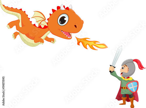 illustration of brave knight fighting with a dragon