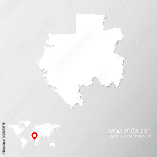 Gabon World Map.Vector Map Of Gabon With World Map Infographic Style Buy This
