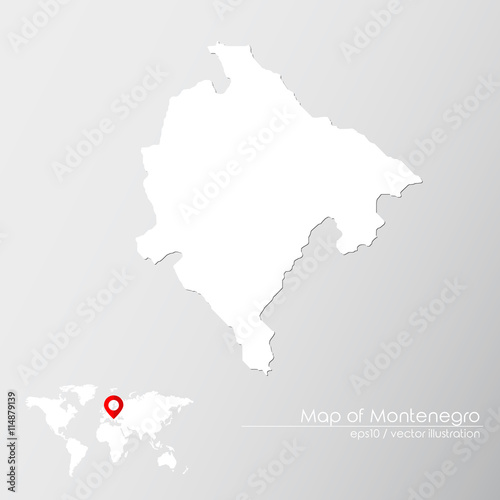 Vector Map Of Montenegro With World Map Infographic Style Buy