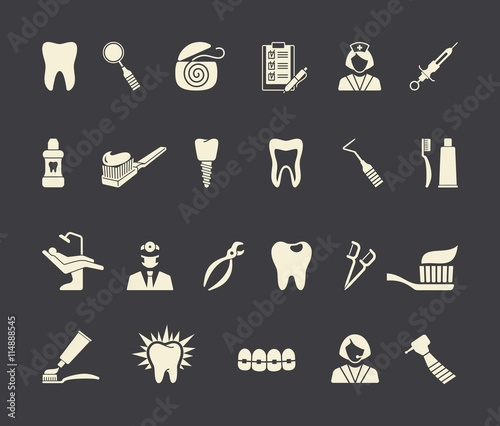 Fotografija Dental icons. Vector Illustration.
