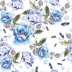 Fototapeta Watercolor pattern with peony flowers.