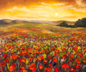 Panel Szklany Maki Colorful field of red poppies at sunset hand made oil painting on canvas. Impressionist art.