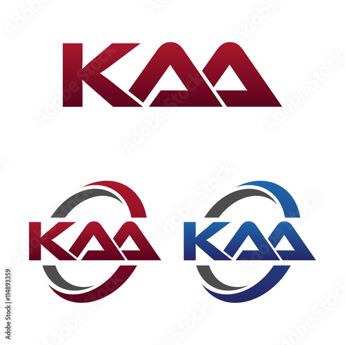 Photo Modern 3 Letters Initial logo Vector Swoosh Red Blue kaa
