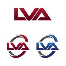 Modern 3 Letters Initial Logo Vector Swoosh Red Blue Lva