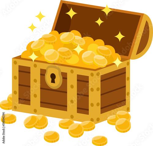 Fotografie, Obraz  宝箱から溢れる金貨