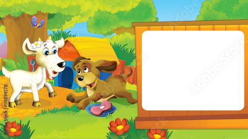 Fotobehang Boerderij Cartoon farm scene with dog and goat having fun outside on the farm - illustration for children