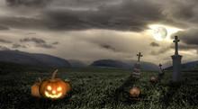 Spooky Halloween Graveyard With Dark Clouds