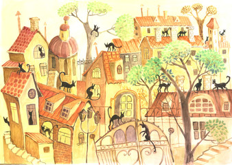 Obraz city and cats, watercolor