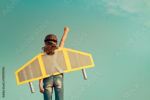 Fototapeta Kid playing with jet pack obraz na płótnie