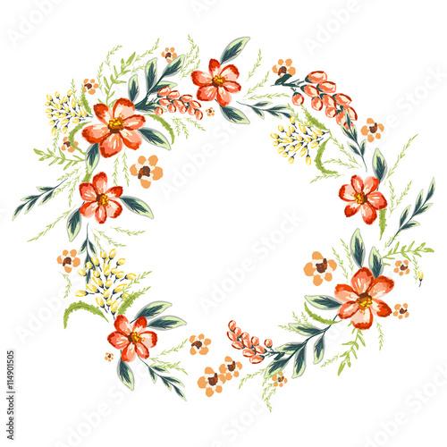 Hibiskus flowers wreath – kaufen Sie diese Illustration und finden ...