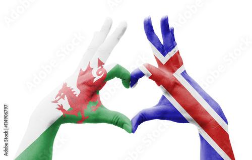 Poster  Freundschaft Wales / Island
