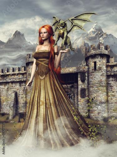 Księżniczka ze smokiem na tle baśniowego zamku