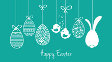 Happy Easter Card, Wishes, Garland