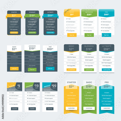Set of Pricing Table Design Templates for Websites and