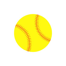 Flat Icon Softball Ball. Vecto...
