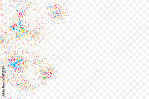 Photo  Colorful celebration background with confetti isolated on white, Abstract background with many splattered falling round glitter pieces