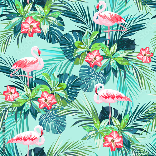 Fotografia  Tropical summer seamless pattern with flamingo birds and jungle flowers