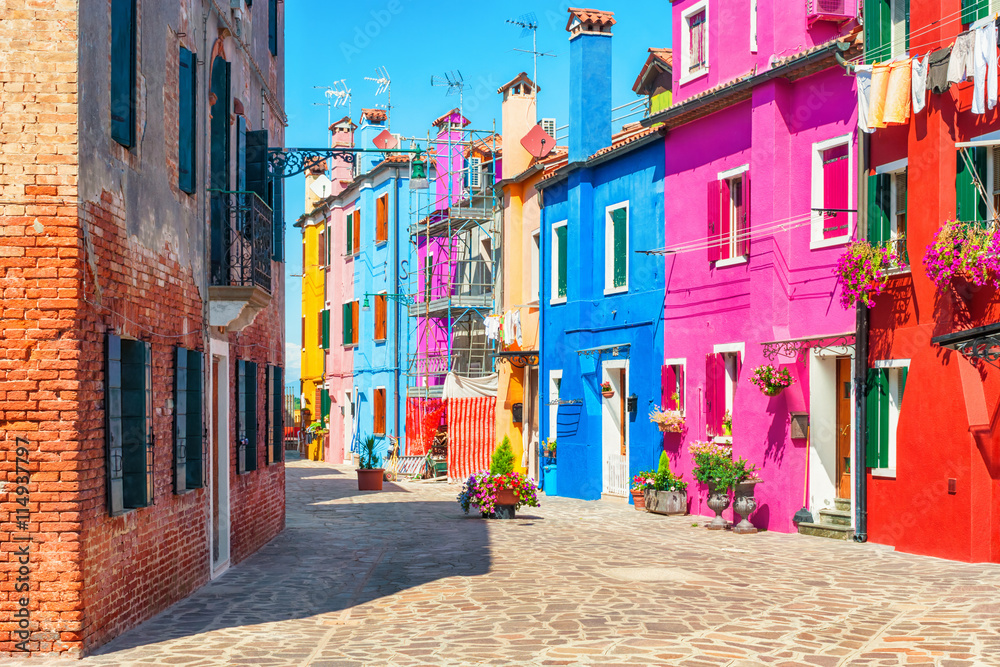 Fototapety, obrazy: Old colorful houses in Burano, Italy.