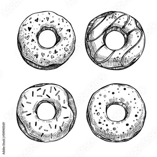 Hand drawn vector illustration - Set of tasty donuts. Sketch. Sw Canvas Print