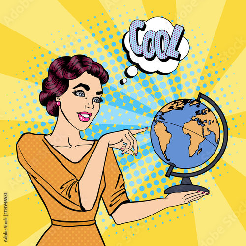 Young Woman with Globe Choosing Place for Travel. Pop Art. Vector illustration