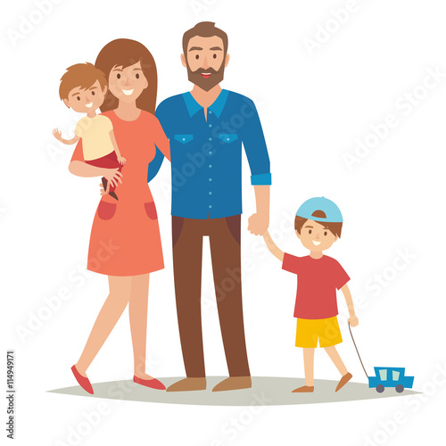 Family With Kids Happy Family Cartoon Caracters Family Family Mother Father Brothers Family Couple And Children Family Group And Kids Flat Style Vector Illustration Isolated On White Background Buy This Stock Vector And