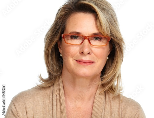 obraz dibond Senior business woman portrait with eyeglasses.
